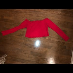 Cropped, off the shoulder red long sleeve